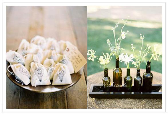 結婚式やお披露目会、二次会などに使えるデコレーションアイデアです♪ 小さめの袋は、プチギフトのラッピングにオススメ! お花の飾り方も、あえてバラバラの高さの瓶